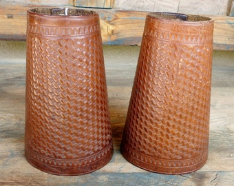 1920's Western Arm Cuffs, hand tooled Leather, Basket weave design