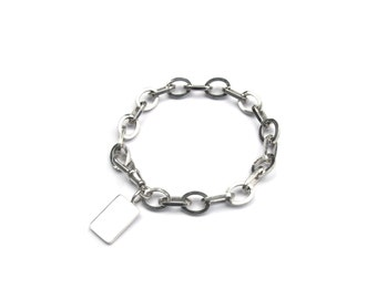 Solid Silver Chain Bracelet / Australian Made Sterling Silver Heavy Chain Bracelet with Charm