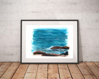 "Blue water wall art, Seascape abstract, Splash, House painting gift, Seascape painting, Seaside decor, ""Crash on the rock weed"""