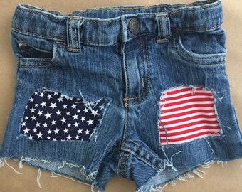 Patriotic Shorts, 4th of July denim, distressed denim, Baby Shorts, Toddler Shorts, Kids Shorts, Girl Shorts, Flag Shorts, Ripped Shorts