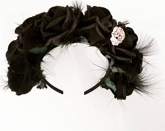 Black Rose Flower Crown