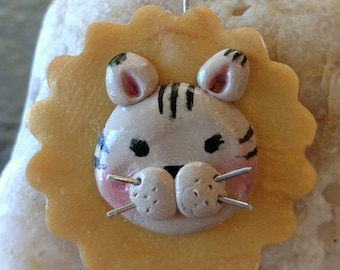 Cat head necklace charm polymer clay