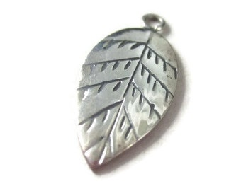 Karen Hills Tribe Silver Leaf Charm or Small Necklace Pendant 25mm Tall
