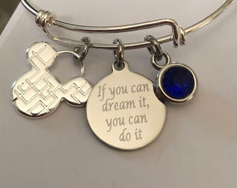 Mickey Mouse bracelet-If you can dream it, you can do it engraved bracelet
