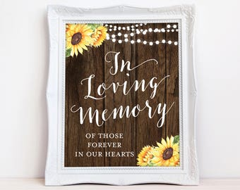 In Loving Memory Sign - Rustic Loving Memory Sign - Sunflowers - INSTANT DOWNLOAD Pdf Jpg - Wedding Remembrance Sign - The Georgina