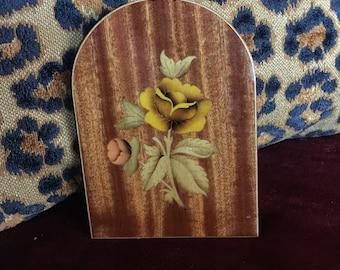 Italian Sorrento Inlay wood rose bookend