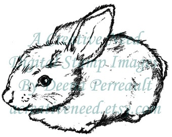 INSTANT DOWNLOAD Digital Stamp Image BUNNY, for Easter, Cards, Scrapbook, Patterns