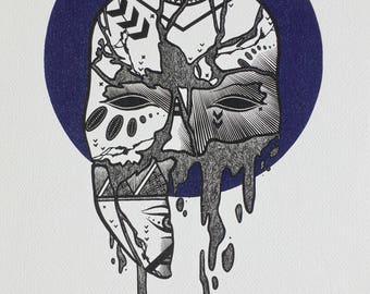 Masked Animalia Print, Shattered