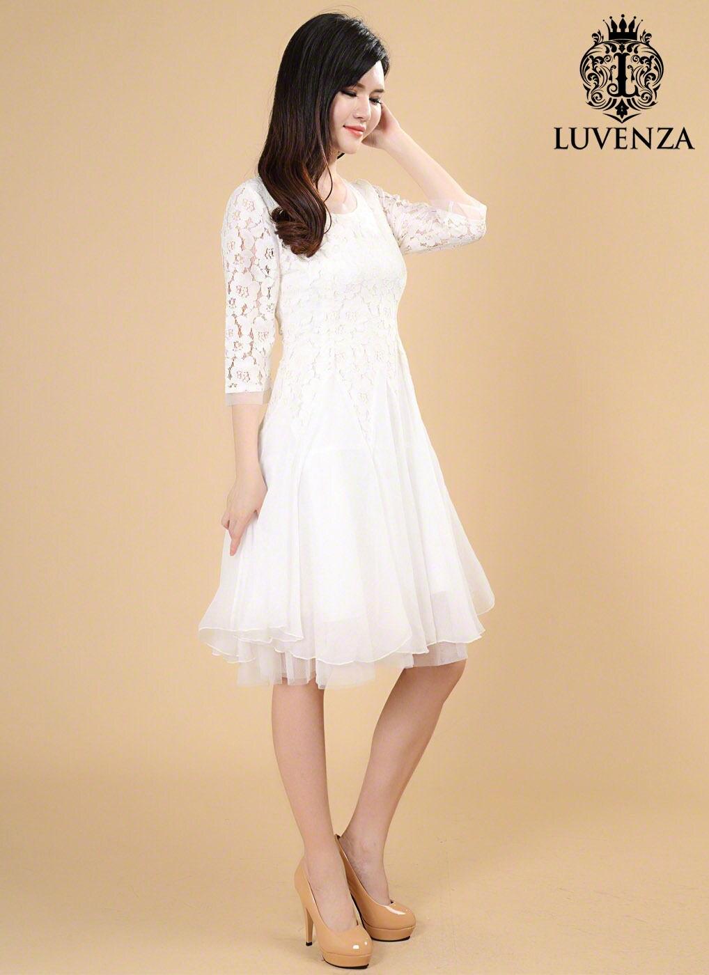 Weiße Spitze MIDI-Kleid Fit und Streulicht Kleid kurze