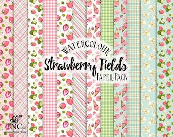Strawberry printable papers - Fruit patterned paper - Watercolour strawberry paper pack - strawberry scrapbook background papers -