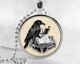 RAVEN READING BOOK Necklace, Writer, Author, Book, Reading, Teaching, Teacher, Read, Book Lover Jewelry, Book Nerd, Librarian, Library