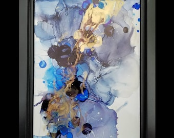 9x12 inch alcohol ink framed painting on ceramic tile