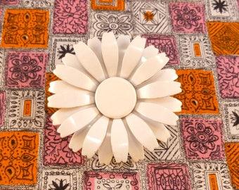 Vintage enamel flower brooch - white