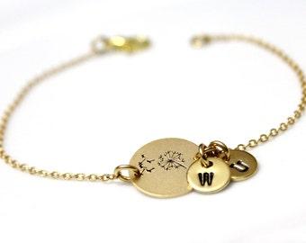 Dandelion Bracelet, Wish Bracelet. Hand-Stamped, Dandelion Wish Bracelet, initial charm, initial Bracelet, Personalized Jewelry, Gold Plated