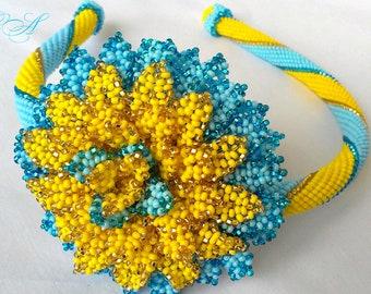 Gift for Ukrainian Made in Ukraine Hair wreath Yellow-blue Flower bead Chrysanthemum Exclusive jewelery Jewelry Beaded jewelry