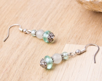 Green Jade Earrings - Gemstones with green beads and Tibetan silver dangle earrings | Green Jade jewellery | Boho jade jewelry