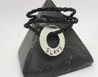 SLAVE, submissive necklace, handstamped with the word slave, simple bdsm necklace, bdsm day collar, owned, collared, dominant, sub, master