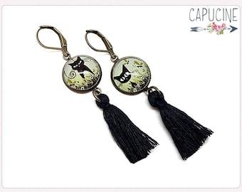 Cats earrings - Chandelier earrings - Tassel earrings - Glass dome kitten earrings