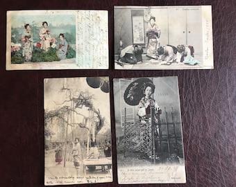 4 Japanese Vintage Post Cards