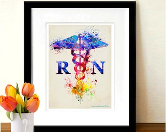 "Watercolor Registered Nurse - Caduceus "" 8.5""x11"", Medical print, Registered Nurse Gift, Watercolor RN Art, Fine Art Print"