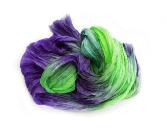 purple - Caribbean Tale -  lavender, purple, green, grass green scarf.