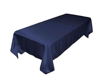 Navy Blue Table Cloth Linen Tablecloth Party Wedding 60 By 126 Inch  Rectangular Polyester Wrinkle Resistant Quality Special Events