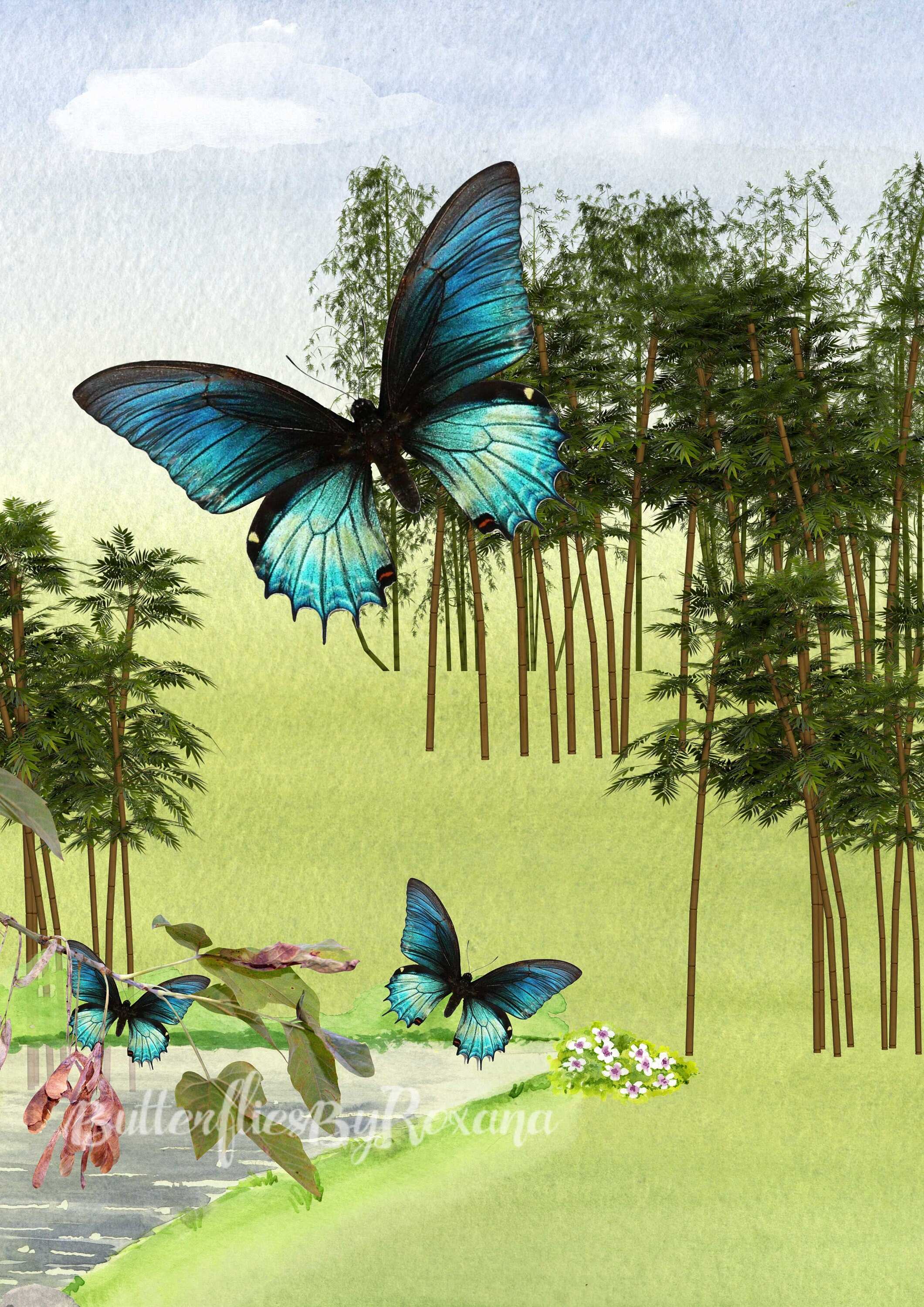 Peaceful Landscape Digital art print Wall art Surinamese butterfly ...