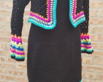 Black - Multicolored Dress with matching Shrug  - handmade - Crochet Dress - Classic dress -  Crochet Classy Dress  with matching shrug