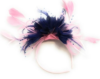 Baby Pink Hoop & Navy Blue Feathers Fascinator On Headband
