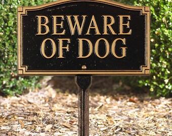 Beware of Dog Statement Marker w/lawn stake