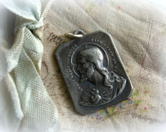 antique holy medal sweet heart of jesus blessed virgin mary on reverse signed F KOCH