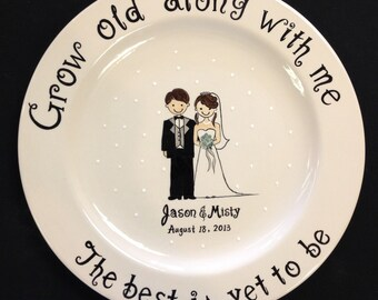 Custom Name Personalized Hand Painted Ceramic Wedding Plate or Anniversary Plate  sc 1 st  Etsy & Hand painted ceramic | Etsy