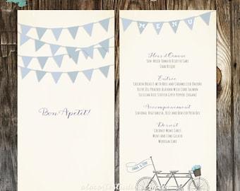 Tandem Bike Wedding Menu Whimsical Wedding Menu Card with tandem Bicycle and flowers banner flags - deposit payment