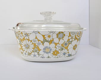 Corning Ware P-2 1/2 B   2 1/2 Qt. Yellow Flower Cassarole Dish