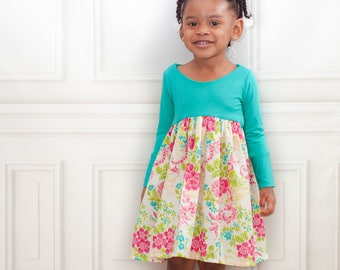 Kailua Dress PDF Sewing Pattern, including sizes 12 months-14 years, Long Sleeve Dress Pattern