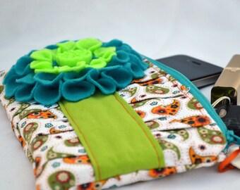 Green and orange Clutch, clutch purse, zippered Pouch, clutch bag, summer Clutch, wristlet, pleated clutch, clutch wallet, neon clutch