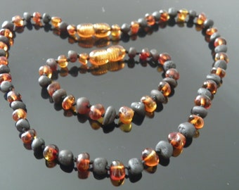 Genuine Semi Polished Baltic Amber Baby Teething Bracelet & Necklace Set