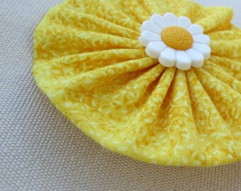 Yellow Easter/Spring Handstitched yo yo hair clip