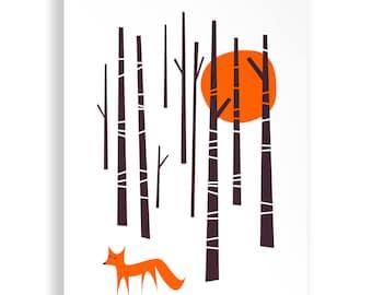 Winter Woodland Fox Print A4