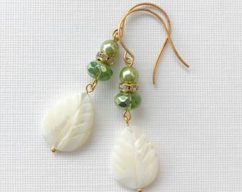Gold Green and Off-White Mother of Pearl Dangle Earrings MOP Rhinestone Unique OOAK Handmade Beaded Leaf Boho Feminine Gift Women Under 25