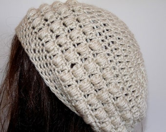 Crochet Eco Friendly Organic Slouchy Hat Beige, Tan for Women and Teens