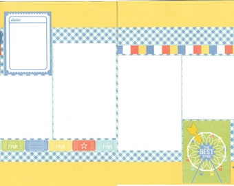 12x12 AT THE FAIR scrapbook page kit, premade scrapbook, 12x12 premade scrapbook page, premade scrapbook page, 12x12 scrapbook layout