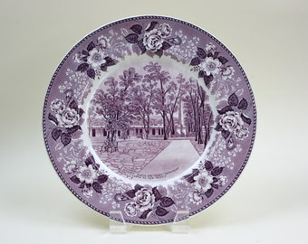 Collector Plates, Purple Transferware Plate, Historic Souvenir Plate, Old English Staffordshire Ware, c1910, Vintage China Plates