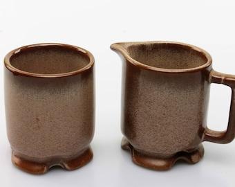 Vintage Frankoma Brown Satin Mini/Individual Creamer and Open Sugar Bowl (1A & 1B)