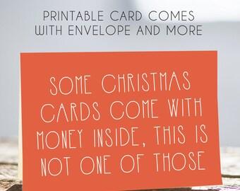 sarcastic christmas card, digital christmas card, christmas greeting card, money christmas card