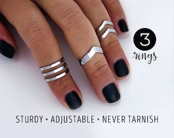 Knuckle ring set gift for her / mirror finish / Double chevron midi ring set  / arrow rings / chevron knuckle ring