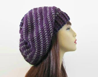 Crochet Slouchy Hat Purple Knit Beanie Purple Striped Slouchy Hat crochet women's hat Purple Slouchy Tam Purple Crochet  Beanie Knit Tam
