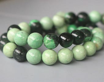 """4mm 6mm 8mm 10mm Grass Green Howlite Smooth Round Beads, Turquoise Howlite beads,15 """" Per Strand"""