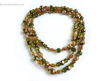 Vintage Brown Green Long Beaded Necklace, Jewelry 1960s, Hippie, Mod, Plastic Sepia Bronze Goldtone