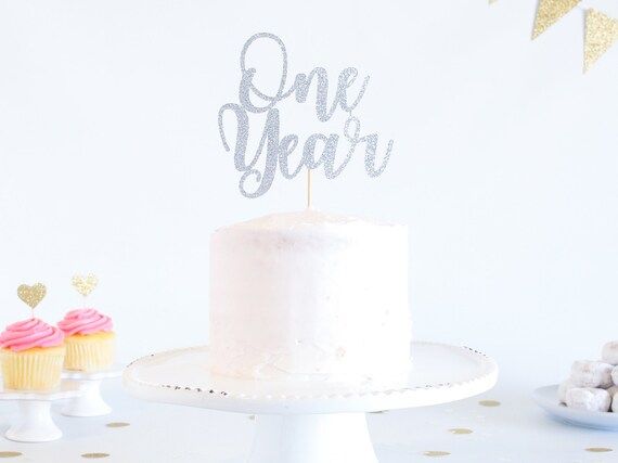 One Year Cake Topper - Glitter - 1st Birthday. Smash Cake Topper. Birthday Party. First Birthday. Birthday Cake Topper. 1st Birthday Decor.